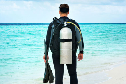 All Diving equipment, Surfboards air and gas cylinders, underwaer torches, knives must be appropriatley packed.